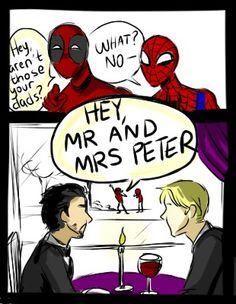Spiderman tony stark The Avengers Deadpool Steve Rogers Wade Wilson peter parker superhusbands scribbles Stony SuperFamily domestic avengers SpideyPool utter nonsense