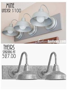 DIY Triple Galvanized Gooseneck Vanity Light Fixture for under $100 - Southern Revivals