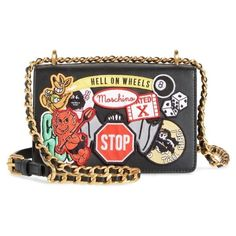 Women's Moschino Multi Patch Leather Chain Shoulder Bag ($1,195) ❤ liked on Polyvore featuring bags, handbags, shoulder bags, black multi, chain shoulder bag, leather shopper bag, genuine leather handbags, shopping bag and chain strap purse
