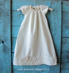 baby baptism DRESS cotton with lace and rosette, LILLA'S LACE (pure white) custom newborn to 6. $68.49, via Etsy.