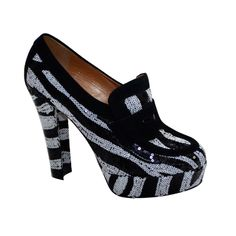 Viktor & Rolf Zebra Tuxedo Black/White Sequince Shoes | From a collection of rare vintage shoes at http://www.1stdibs.com/fashion/accessories/shoes/