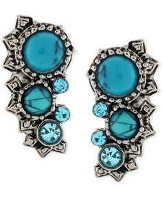 BCBGeneration Silver-Tone Turquoise-Colored Stone Ear Climbers - Jewelry & Watches - Macy's