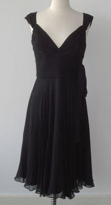 Laundry Shelli Segal Black Silk Ruched Dress Cocktail Evening - 4 | eBay