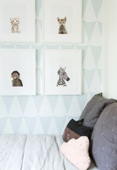 These baby animal prints look adorable on the geometric wallpaper - they're perfect for baby but won't outgrow him too quickly. // The Animal Print Shop by Sharon Montrose