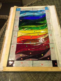 All glass cut and grinding complete. Battens on and I'm ready to start leading tomorrow #stainedglass #curves #waves #rainbow #design