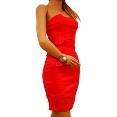 Sexy Dress Cocktail Evening Stretch TrendyLook classy in this dress. Quality thick formal stretch fabric. Strapless style dress . Layered bow design on one side. A totally eye-catching dress. This dress is fully lined. Click Pic for More Info