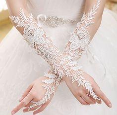 Fingerless Long Bridal Gloves Wedding Wear Beads Luxury Lace Flower Glove Hollow…