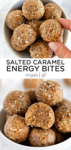 Salted Caramel Energy Bites - - These salted caramel vegan energy bites taste just like a decadent dessert but are actually healthy and nutritious. They're the perfect snack for anyone on-the-go! Oatmeal Energy Bites, Peanut Butter Energy Bites, No Bake Energy Bites, Energy Balls, Strawberry Oatmeal Bars, Blueberry Crumble Bars, Granola, Easy Homemade Snacks, Banana Bites