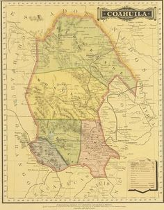 1885 Map of Coahuila, Mexico - We Are Cousins Texas Maps, Cousins, High Definition, Vintage World Maps, Mexico