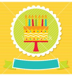 Birthday card with a cake and candles vector on VectorStock®