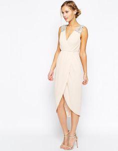 91085e605b ASOS sukienka MIDI nude RÓŻ zdobiona S 36