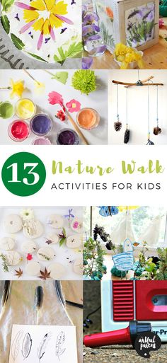 13 Nature Walk Activities for Kids (+ FREE Nature Scavenger Hunt) - We have six nature walk activities for kids while out on a walk. And 6 more nature ideas for kids w - Nature Activities, Art Activities For Kids, Spring Activities, Creative Activities, Creative Play, Infant Activities, Art For Kids, Family Activities, Projects For Kids