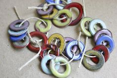 7 Torch Fired Enamel Washers Connectors Copper by BeadSoupBeads,
