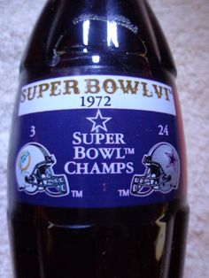 Coke Dallas Cowboys SuperBowl VI Champion Miami Dolphins Coca Cola Bottle 1972