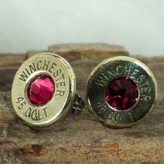I WANT THESE! Bullet  Earrings   Stud Earrings  Ultra Thin  Colt by ShellsNStuff, $14.99