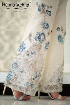 Designer Indian & Pakistani Ivory Diamante Embroidered & Embellished Trousers. Designed in London UK. Free delivery over £75