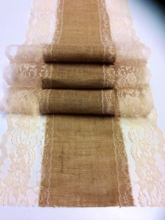 Burlap Lace Table Runner/Natural/Antique by LovelyLaceDesigns