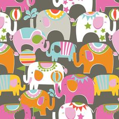 Ringmaster Pink Elephants Circus Bailey by by spiceberrycottage, $19.25  Love, love, love the elephants! Great colors too.