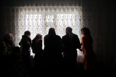 Diana Markosian Chechnya. 2012. Chechen girls wait to be picked up for a party in the village of Achkoy-Martan.