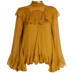 Chloé High-neck silk-crepon ruffle blouse ($3,550) ❤ liked on Polyvore featuring tops, blouses, yellow, silk blouse, high neck blouse, bell sleeve blouse, long silk blouse and bell sleeve tops