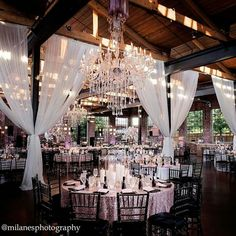 Simple yet elegant. Transforming an area that has rustic charm to look like a Black Tie Affair. Love...
