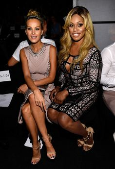 Petra Nemcova and Laverne Cox at Herve Leger by Max Azria nyfw spring15
