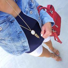 Lightwash denim jacket, navy blue tank, white shorts, cognac sandals, red handbag, Kendra Scott Rayne Necklace | On the Daily EXPRESS | Instagram: @ontheDailyX