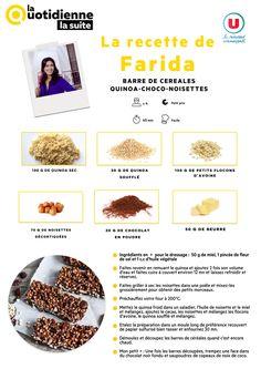 La Quotidienne La Suite - Recette de Farida : Barre de céréales quinoa choco Dessert Light, Snack Bar, Biscuits, Quinoa, Oatmeal, France 5, Gluten, Nutrition, Pains
