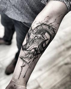 """Inez Janiak on Instagram: """"- [ ] 🖤check out my studio @inne_tattoo🖤#wowtattoo #blacktattoomag #blacktattooart #inkstinctsubmission #equilattera #black #btattooing…"""" Tattoo Goat, Ram Tattoo, Sketch Style Tattoos, Tattoo Sketches, Sweet Tattoos, Black Tattoos, Widder Tattoos, Satanic Tattoos, Ink Pen Art"""