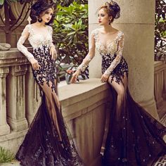 2016 Elegant Long Sleeve Mermaid Evening Dresses Sequins Baeded Lace Appliques Sheer Neck Floor Length Tulle Sexy Prom Party Gowns Designer Long Evening Dresses Elegant Evening Dresses With Sleeves From Dmronline, $127.34| Dhgate.Com