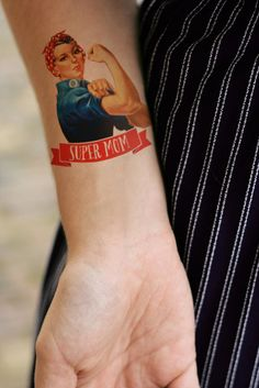 Mother's day temporary tattoo 'Super Mom' by Tattoorary on Etsy, $9.00