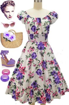 50s-Style-PURPLE-PINK-ROSE-FLORAL-PINUP-Peasant-Top-On-Off-t-Shoulder-Dress