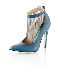SACHA   Ankle Strap in Saffiano Calfskin with Gold Box-Chain Fringe    www.whoisschee.com  https://twitter.com/WhoIsSchee  https://www.facebook.com/whoisschee