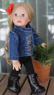 "American Girl Doll Denim jacket, 18"" doll jean jacket outfit"