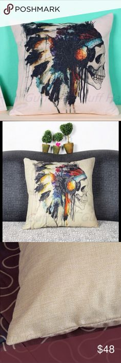 JUST IN Indian Skull pillow case Cotton linen, 43x43cm, place it on a bed or a sofa, color is vibrant, please allow 1-3mm error in case of manual measurement.  Contains 1 pillow case. M Other