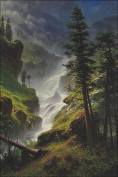 View Rocky Mountain Waterfall by Albert Bierstadt on artnet. Browse upcoming and past auction lots by Albert Bierstadt. Cool Landscapes, Beautiful Landscapes, Landscape Paintings, Watercolor Landscape, Watercolor Artists, Watercolor Painting, Albert Bierstadt Paintings, Waterfall Paintings, Mountain Waterfall