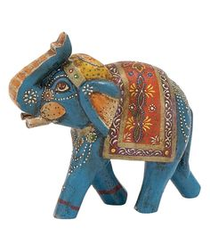 Take a look at this Blue Wood Painted Elephant Figurine on zulily today! Pebble Painting, Pottery Painting, Painting On Wood, Pottery Art, Wooden Elephant, Elephant Love, Elephant Family, Elefante Hindu, Indian Furniture