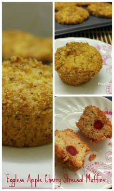 Eggless apple cherry Streusal Muffins with a nice crunch of walnuts! #recipe #breakfast #muffin