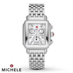 Michele Watches - Deco Diamond, Mother-Of-Pearl & Stainless Steel Chronograph Bracelet Watch Army Watches, Fine Watches, Sport Watches, David Yurman, Stainless Steel Bracelet, Stainless Steel Case, Michelle Watches, Tory Burch, Thing 1