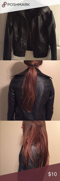 "Forever 21 Faux Leather Jacket Great condition.  No snags or tears. The length from the shoulder down is 20.5""  The collar is similar to a sweater material. if you have any additional question or would like pics, LMK. Forever 21 Jackets & Coats"