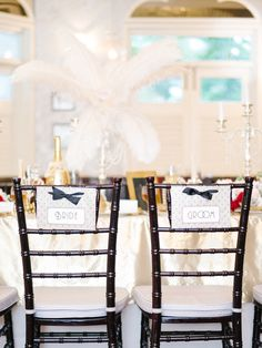 Art deco chair signs. Glamorous Great Gatsby Wedding Inspiration