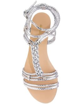 low wedge plaited sandal silver