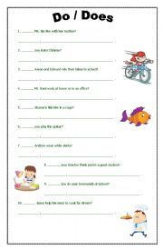 English Worksheet Do Does Exercise Questions Interrogatives This Or That Questions Nouns And Adjectives Do Exercise