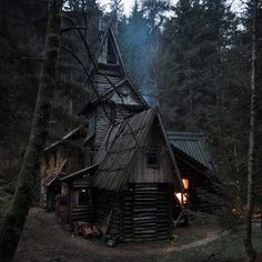 Wanderer of Midgard Witch Cottage, Witch House, Forest Cabin, Forest House, Arte Obscura, Cabin In The Woods, Dark Forest, Fantasy Landscape, Beautiful Buildings
