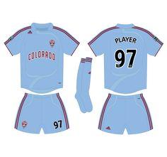 f5252545367 Colorado Rapids Road Uniform (2007) - Claret shirt and shorts Road Logo