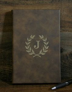 Monogrammed Leather Journal Engraved Journal Lined Journal Personalized Journals, Leather Bound Journal, Ribbon Bookmarks, Presents For Her, Monogram Design, Lined Page, Design Show, Blue And Silver, Customized Gifts