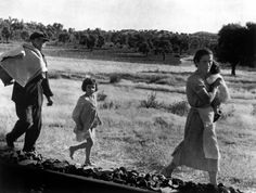 Andalucía, Spain. Civilians fleeing de Cordoba front. By Robert Capa, (September 5th, 1936)