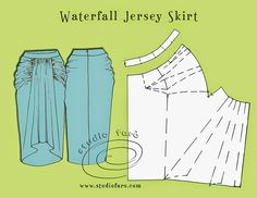 well-suited: Pattern Puzzle - Waterfall Jersey Skirt i want one of these skirts. Maybe one day i can learn how to sew Techniques Couture, Sewing Techniques, Pattern Cutting, Pattern Making, Diy Clothing, Sewing Clothes, Sewing Patterns Free, Clothing Patterns, Vintage Patterns