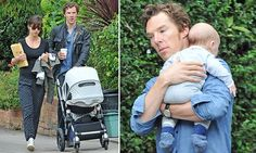 Actor Benedict Cumberbatch, 39, has been spotted out and about in London with his wife, Sophie Hunter, and new baby son. The couple welcomed their first baby in June.