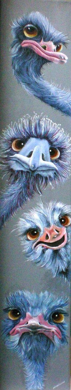 Vrolijke dieren in acryl - Schilderwerk van galeriemariannevanwijk!